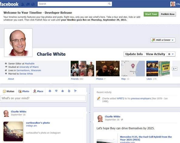 Facbook Timeline New Profile