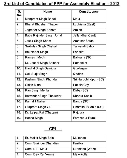 3rd List Of Candidates of PPP For Assembly Election - 2012